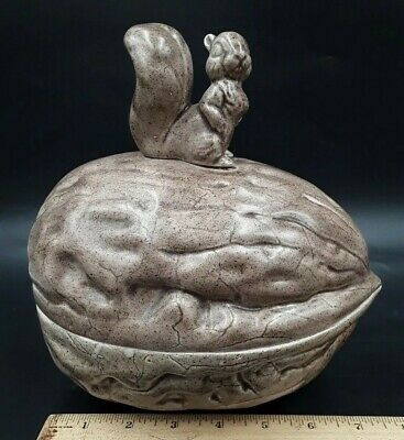 Vintage Ceramic Lidded Nut Dish Shaped Walnut with Squirrel on Top Lid Brown