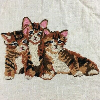 Vintage kittens finished crewel needlework craft project wall art unframed