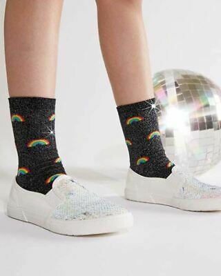Sock It To Me Glitter Shimmer Over The Rainbow Kids Crew Socks Cool Colourful