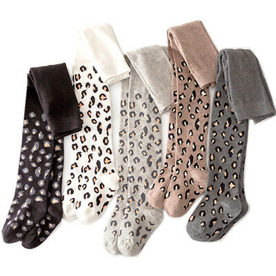 Knitted Leopard Print Cotton Stockings Dancing Stocking Pantyhose Girls Tights