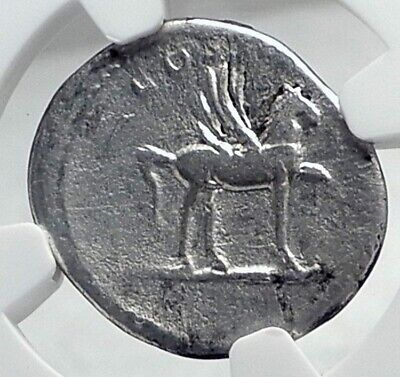 DOMITIAN as CAEASAR Authentic Ancient Rome Silver Roman Coin PEGASUS NGC i81201