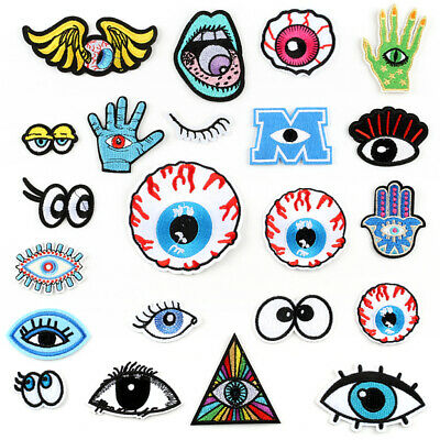 DIY Eye's Badge Patch Embroidered Sew Iron On Patches Badge Fabric Applique New