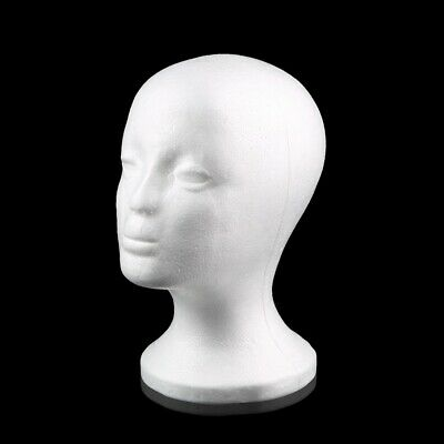 Female Styrofoam Mannequin Manikin Head Model Foam Wig Hair Glasses Display EW