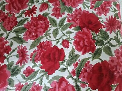 Retro Floral Vintage Rose Print Polished Cotton Fabric ~ Over 11 metres