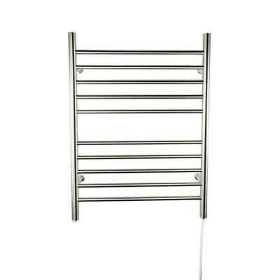 10-Bar Electric Towel Warmer w/ Indicator Light, Polished Steel, 24 in. x 32 in.