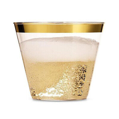 20X Gold Plastic Cups Clear Plastic Tumblers Rimmed Fancy Disposable Wedding