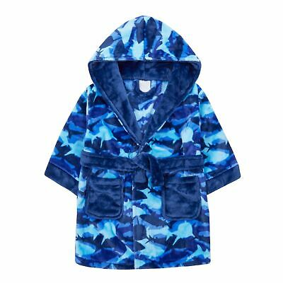 Boys Camouflage Shark Robe Hooded Fleece Dressing Gown Kids Novelty Bathrobe