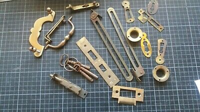 Antique Brass Door Furniture Escutcheons Bolts Etc.