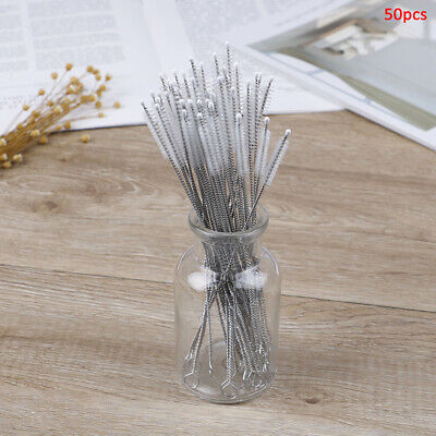 50pcs/lot Bottle spiral soft straw brush stainless steel Cleaning brush to~GN