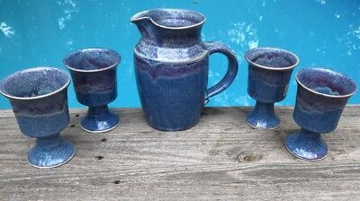 5 Pc Handmade Pottery Signed Pitcher 4 Goblets Blue Plum Drip Heathered