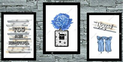 Set of 3 Coco  Wall Art Prints A4 Dressing Room Bedroom Poster Watercolour