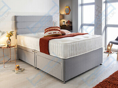 GREY DIVAN with MEMORY FOAM MATTRESS & HEADBOARD 3FT Single 4FT6 Double 5FT