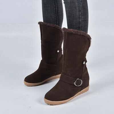 Womens Winter Booties Faux Fur Warm Slip On Casual Shoes Non Skid Outdoor Boots