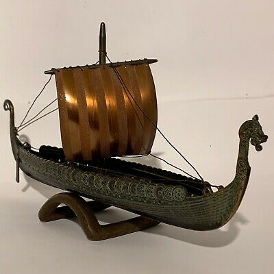 Edward Aagaard Denmark. Rare Vintage Bronze Viking Dragon ship from the 1970ś