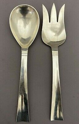 Hand-Made Sterling Silver 2 Pc. Salad Set Sunset By Allan Adler