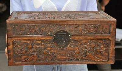 Old dynasty Huanghuali Wood Carved gourd pomegranate Jewelry Storage box cabinet
