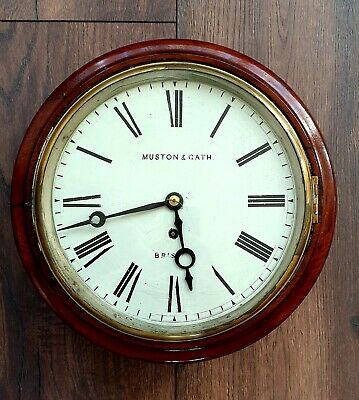 "Fusee Wall Clock 12"" Round Dial Mahogany Antique Church Clock"