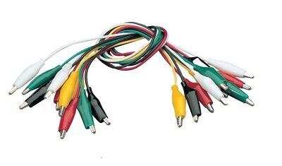 10 Test Patch Leads in 5 colours with Insulated 25mm Crocodile Clips 50cm / 0.5m