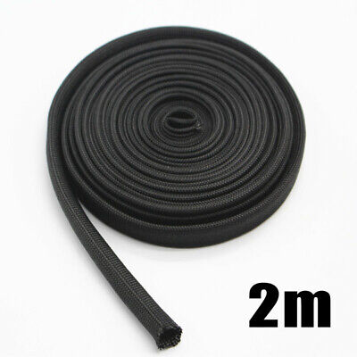 1 X 2M Black Woven Sleeve Protector For Spark Plug Wire High Temperature 1200F