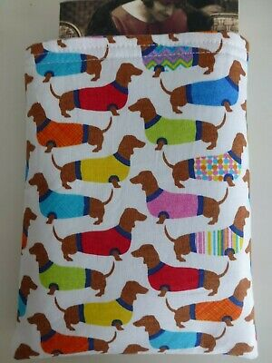 Multi Dachshund Dogs in Sweaters (Sausage Dog) Book Buddy*Padded Fabric sleeve