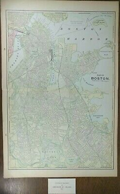 "Vintage 1903 BOSTON MASSACHUSETTS Atlas Map 14""x22"" Old Antique Original"