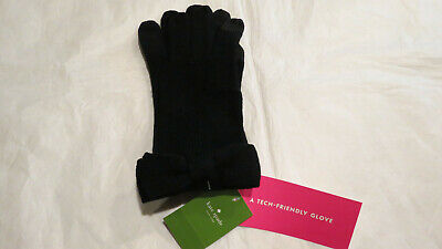 Kate Spade NY Bow Tech Gloves Black One Size 100% Acrylic $49 Authentic New NWT