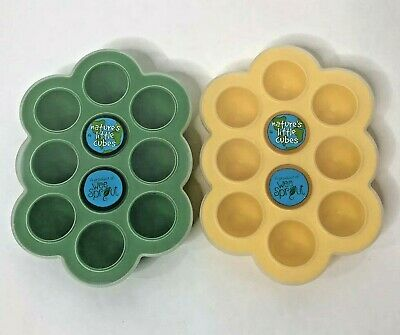 Wee Sprout Natures Little Cubes Baby Food Storage Trays Silicone Covers Lot