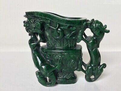 Antique Chinese malachite chilong and dragon cup