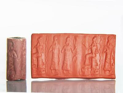 Old Babylonian Cylinder Seal with worshipping scene: 19th-16th century BC.