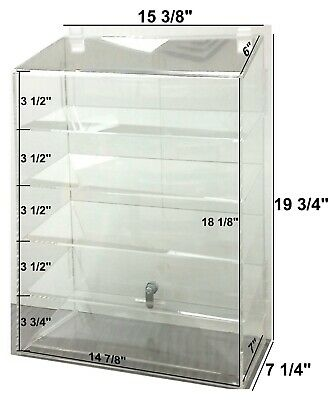 Hi Quality Clear Acrylic Retail Display Case 5 Shelf Dbl door Security Lock USA