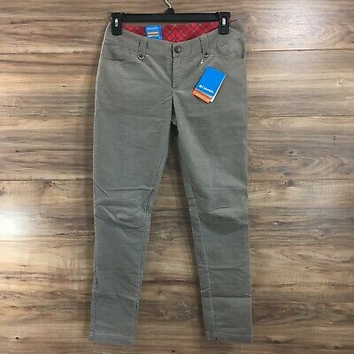 Columbia Womens Original Skinny Corduroy Pants Active Fit Shade Gray Size 8 New