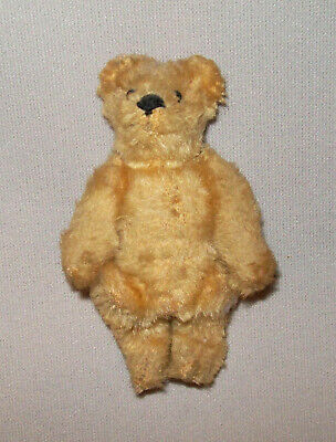 """Old Antique Vtg C 1920s Miniature Teddy Bear 3.5"""" Tall Fully Jointed Mohair Nice"""
