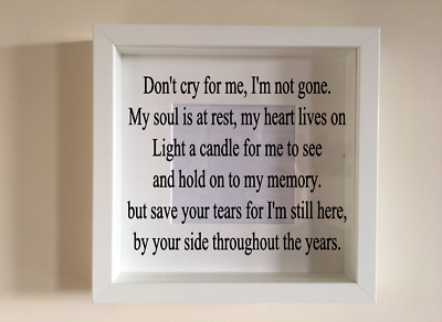 IKEA RIBBA Box Frame Personalised Vinyl Dont cry for me verse