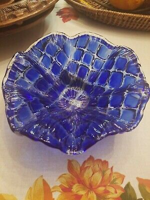 Amazing CENTERPIECE ART GLASS BOWL ARTIST VETRO ESEGUITO MURANO ITALY GORGEOUS!