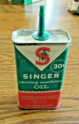 Vintage Empty Singer Sewing Machine Oil can 30 Cents no cap 4 ozs.