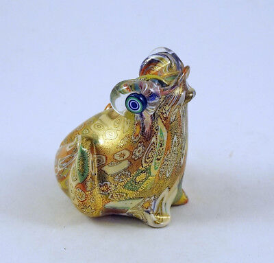 NEW MURANO MILLEFIORI CUTE FROG FIGURINE iTALIAN ART GLASS MADE IN MURANO ITALY