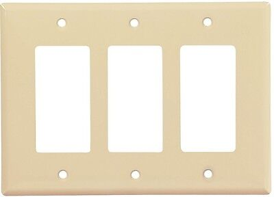 (100 pc ) NEW Decorator 3-Gang Switch Wall Plate Cover Ivory Plastic CLOSEOUT!