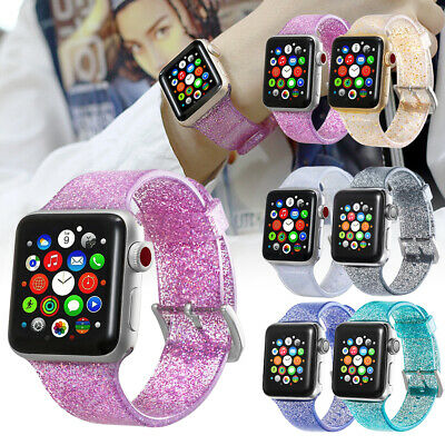 Glitter Silicone Band Strap For Apple Watch 5 4 3 2 iWatch Sports Series 38-44mm