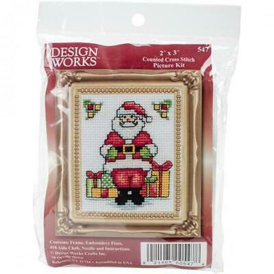 "Design Works Counted Cross Stitch Kit 2""X3""-Santa W/Frame Mini (18 Count), DW547"