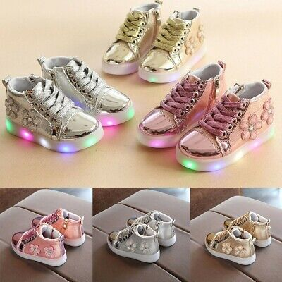 Infant Kids Girls Floral Crystal Led Light Luminous Running Boots Casual Shoes
