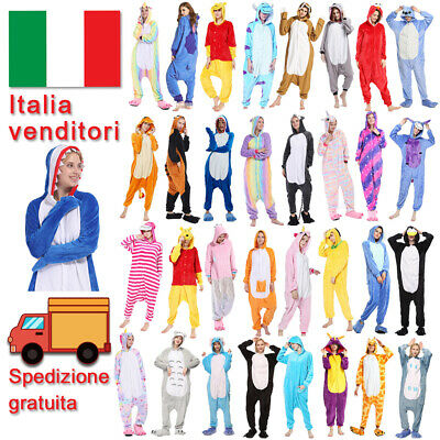 Pigiama intero costume animale kigurumi unisex carnevale Natale IT festa cosplay
