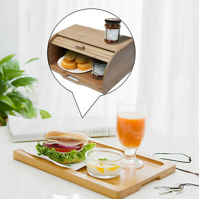 Natural Wooden Roll Top Bread Box Kitchen Food Storage (Bamboo) Storage Rack US