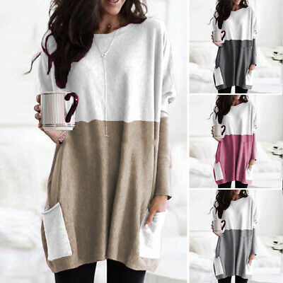 Womens Long Sleeve Pockets Baggy Tunic Tops Ladies Loose Jumper Pullover Blouse