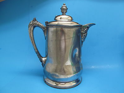 Antique Victorian Superior Silver Silverplated Covered Water Pitcher ~ Tin Lined