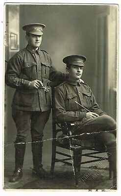 ANTIQUE WW1 SOLDIERS REAL PHOTO POSTCARD Thelma Duryea Studio, Adelaide *A/F*