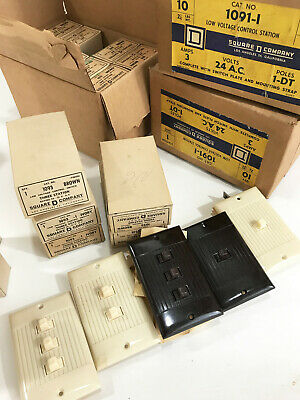 LOT OF 46 Vtg retro New Old Stock Square D 1〜3 station pulse switch cover plate.