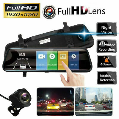 "10"" HD 1080P Dual Lens Car DVR Dash Cam Video Camera Recorder + Rearview Mirror"