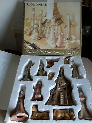 Colonial large tealight holder nativity gift Set boxed 12 piece