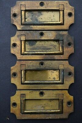 4 Brass Georgian Reclaimed Old Campaign Chest / Drawer Handles antique flush