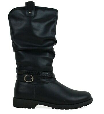 girls fashion boots military style inside zip hiking winter school grip sole